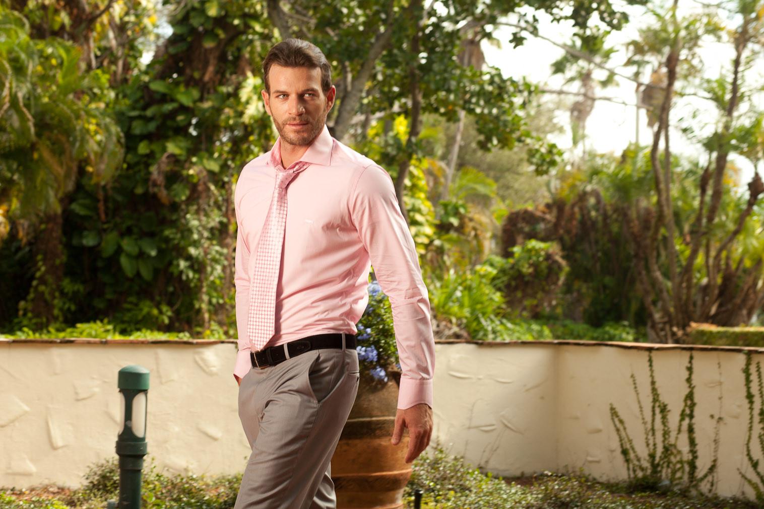 Men's Dress Shirts |  Light Pink Shirt with Pink Stripe | Miltiadis XIII 03