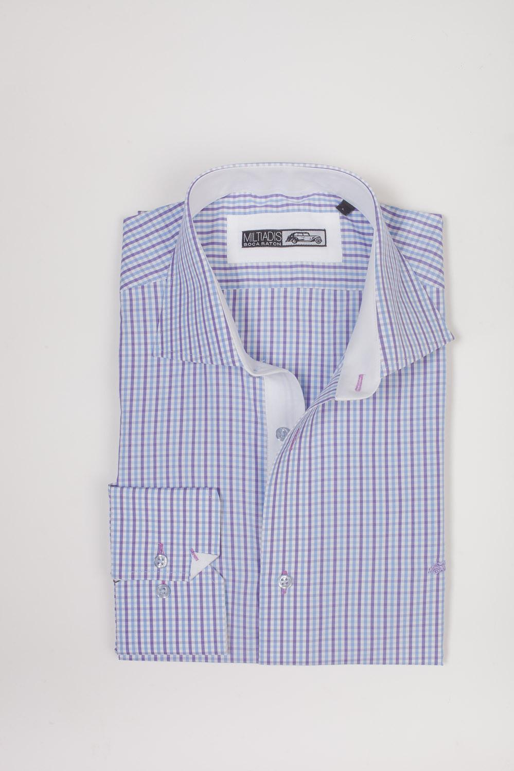 Men's Dress Shirts   Light Blue and Lavender Checkerboard Dress Shirt   Miltiadis XIII 06