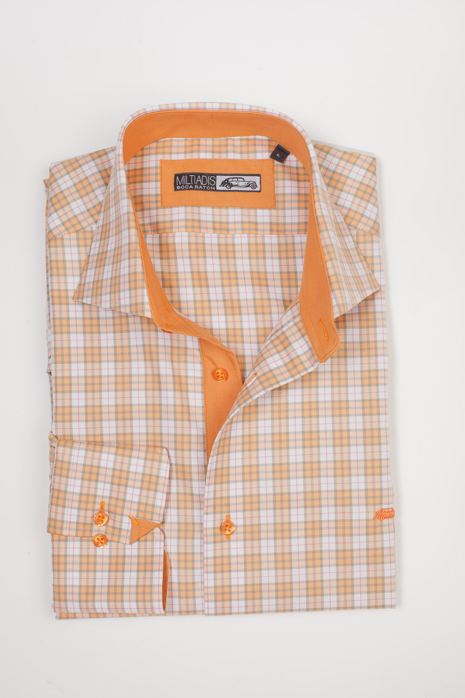 Men's Dress Shirts | Plaid Shirt in Shades of Orange and White | Miltiadis XIII 07