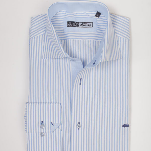 Men's Dress Shirts | Light Blue with White Stripes | Miltiadis XIII 08