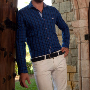 Men's Dress Shirts | Black & Blue Checkered Shirt with Light Pink | Miltiadis XIII 09
