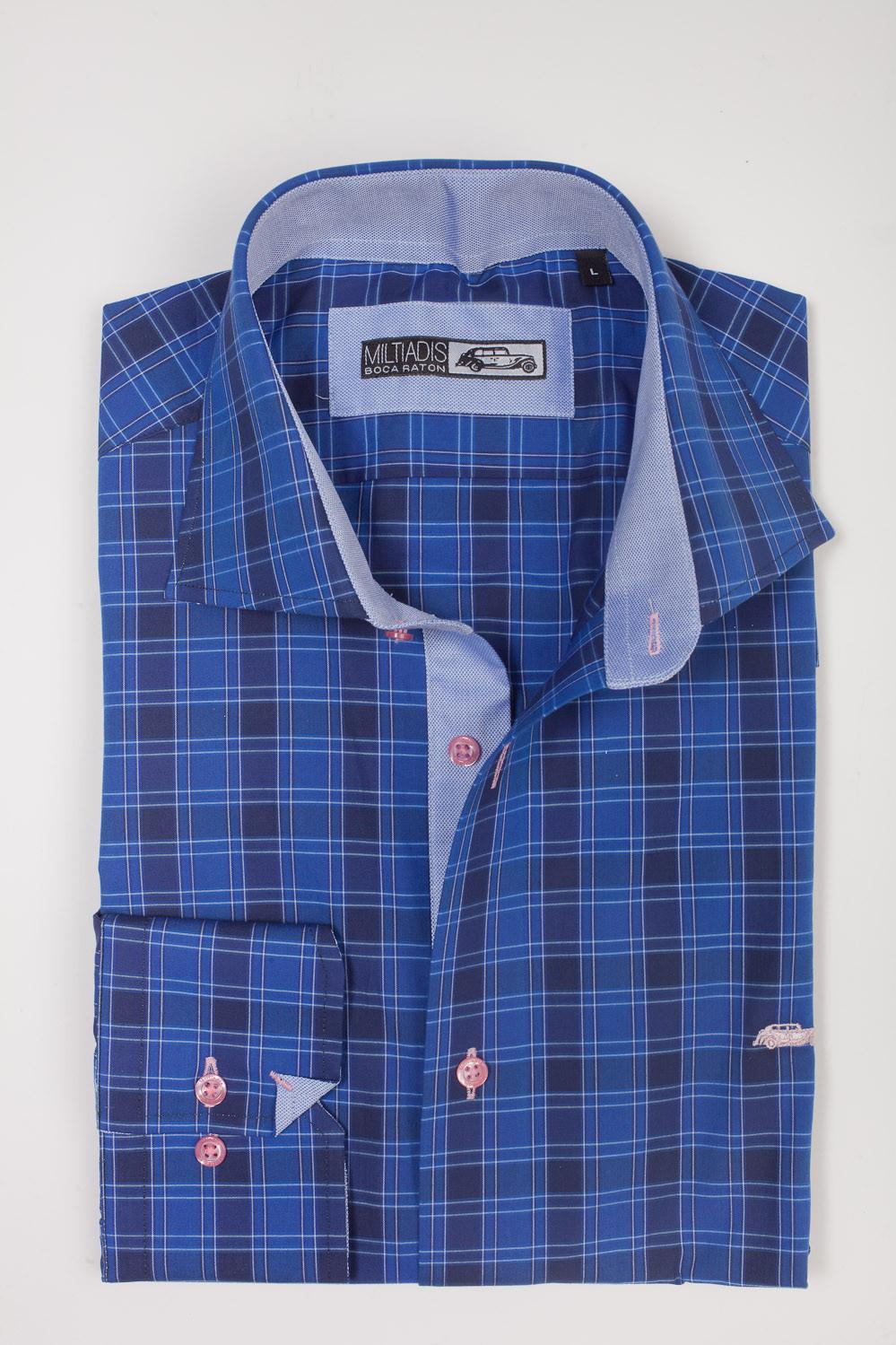 Men's Dress Shirts | Black & Blue Checkered Shirt with Light Pink | Miltiadis XIII 09