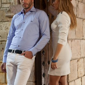 Men's Dress Shirts |  Light Blue Shirt with Navy Accents | Miltiadis XIII 10