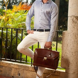 Men's Dress Shirts | Light Blue Shirt with Navy Accents | Miltiadis XIII 12