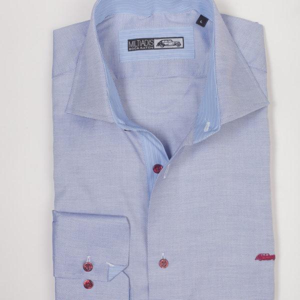 Men's Dress Shirts | Light Blue Shirt with Navy Accents | Miltiadis XIII 12