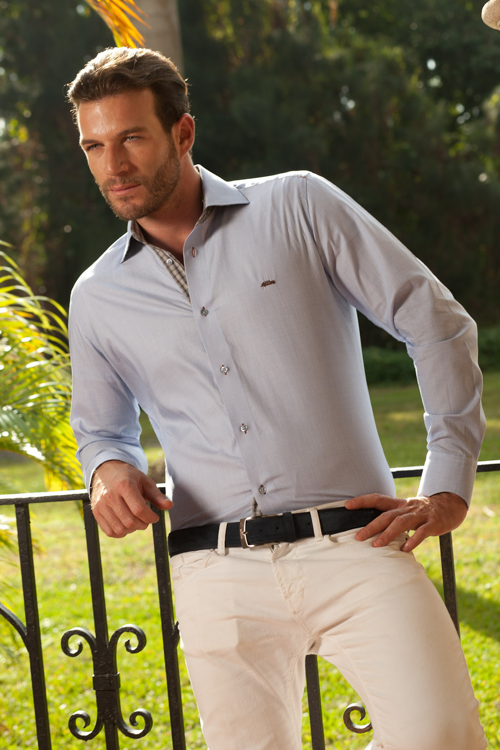 Men's Dress Shirts | Light Blue Shirt with Brown Plaid Accents | Miltiadis XIII 13