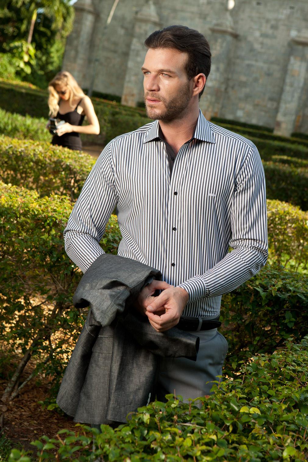 Men's Dress Shirts   White Shirt with Black Stripes   Miltiadis XIII 16