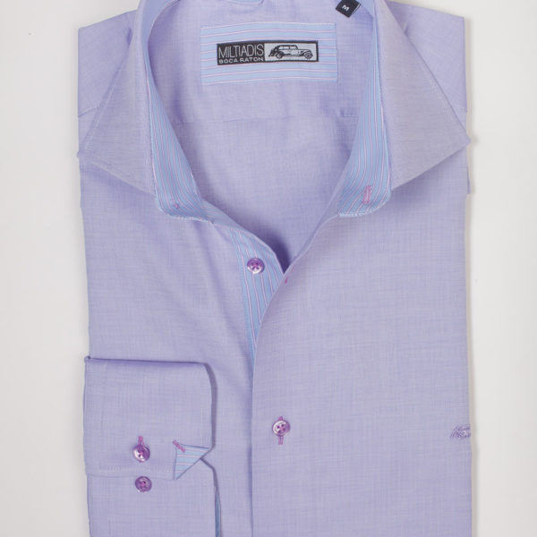 Men's Dress Shirts | Blue Shirt with Purple Accents | Miltiadis XIII 18