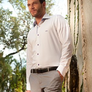 Men's Dress Shirts | White Shirt with Blue and Lavender Stripes | Miltiadis XIII 05