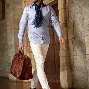 Men's Dress Shirts | Blue Shirt with Navy Plaid Accents | Miltiadis XIII 15
