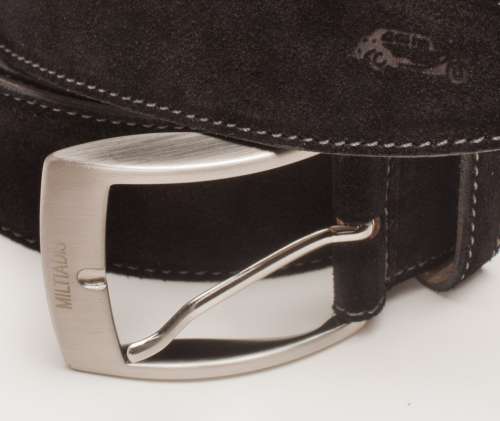 Suede Italian Leather Belt | Black