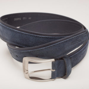 Suede Italian Leather Belt | Navy Blue