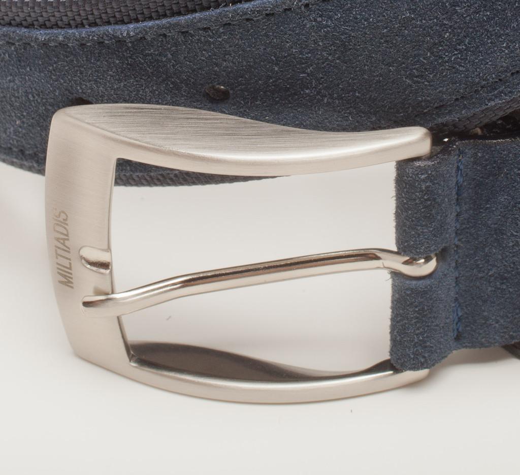Suede Italian Leather Belt | Navy Blue