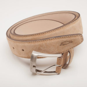 Suede Italian Leather Belt | Tan